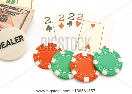 Four Playing Cards, Dollars And Chips
