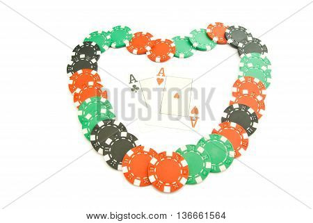 Heart From Cards And Chips