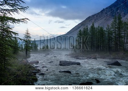 Fog on Yellowstone river, on the sunset
