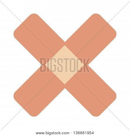 simple flat design crossed bandaid icon vector illustration