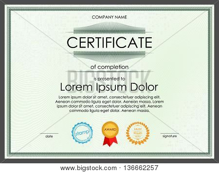 Certificate diploma border template with detailed decorative elements, watermark surface