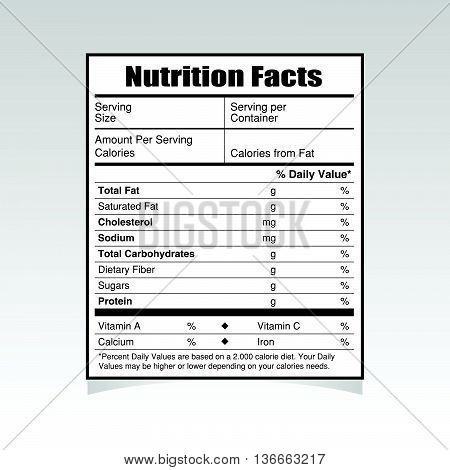 nutrition facts paper value illustration on gray
