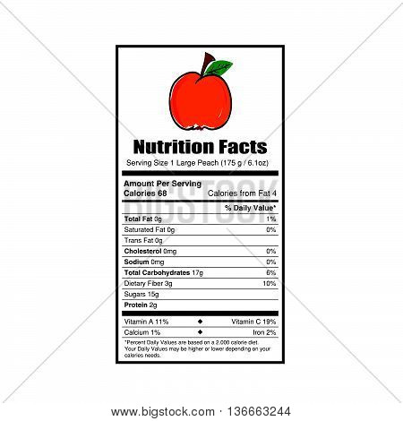 nutrition facts peach value illustration on white