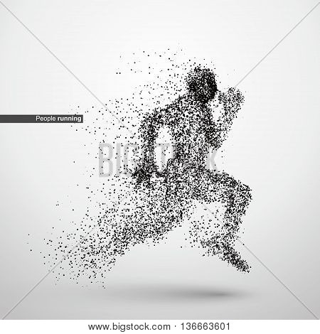 People running particle divergent composition, vector illustration