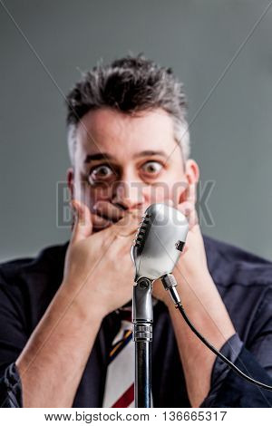 Man Scared To Speak On The Microphone