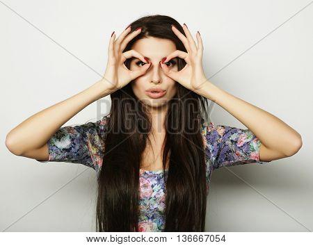 Beautiful brunette female in summer dress