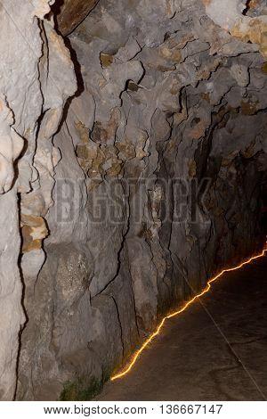 underground walkways with think orange light in sintra portugal
