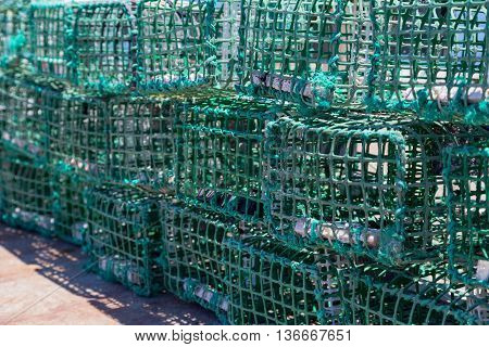 Square Green Crab Traps In Marine
