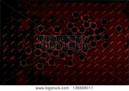 shotgun bullet hole on red diamond plate. metal background.