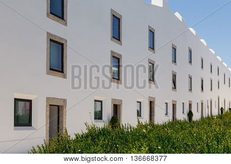 wall of house with window in european city