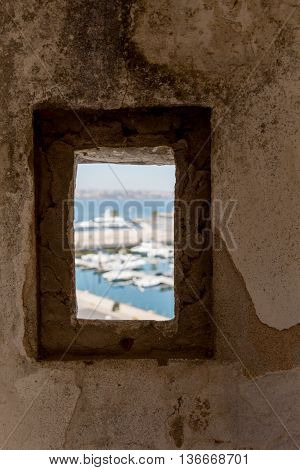View In Old Window On Sea Marine