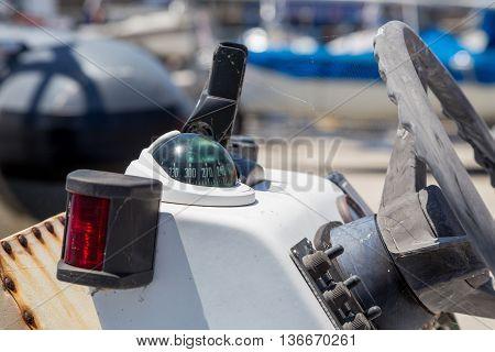 Closeup Old Motor Boat In Marine