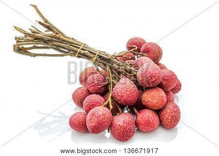 Isolated bunch of lychee on the white background