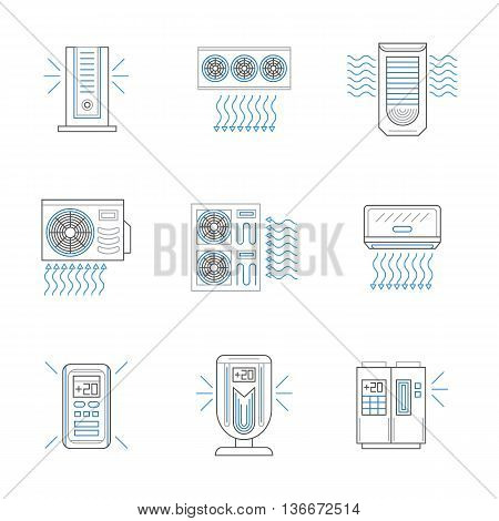 Different types of air conditioners, compressors and air purification devices. Modern climatic equipment for home, office, storages. Set of black and blue flat line style vector icons.