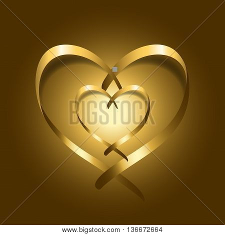 Two Gold silk ribbon hearts. Golden couple satin silhouette on shiny background. Symbol of happy love romantic. Valentine Day design template for banner invitation card poster. Vector Illustration.