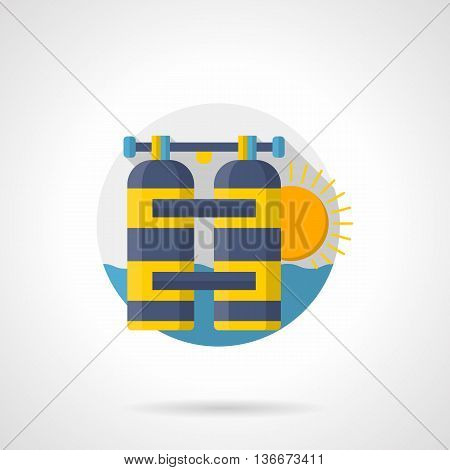 Blue and yellow aqualung tanks. Scuba diving exploration of sea and ocean. Underwater leisure equipment. Diving club services. Round detailed flat color style vector icon.