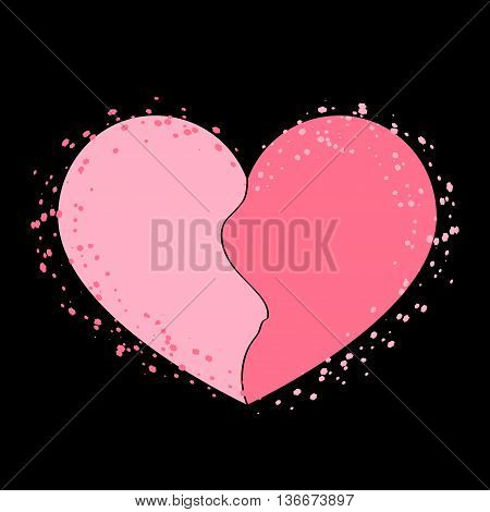 Halves heart icon. Two half puzzle. Broken shape sign isolated on black background. Beautiful symbol of heartache passion or Valentine day romantic love. Drawing brush grunge. Vector illustration