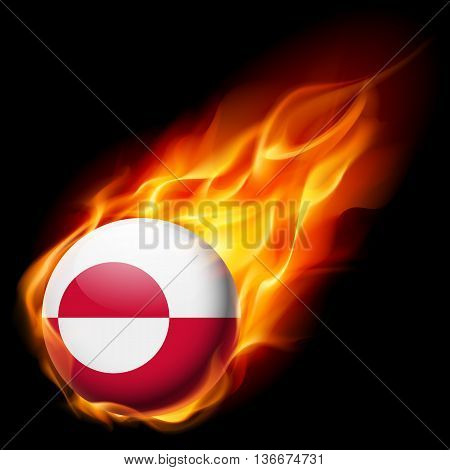 Flag of Greenland as round glossy icon burning in flame
