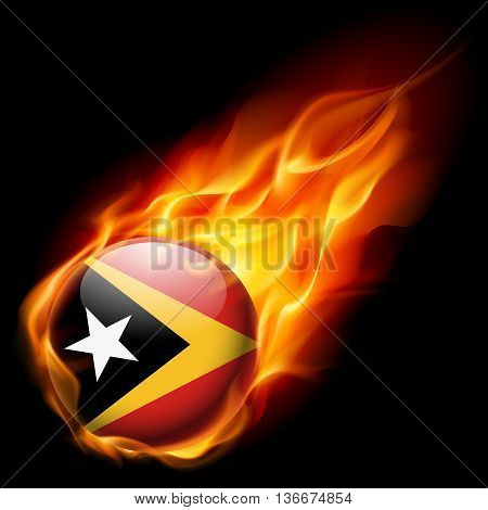Flag of East Timor as round glossy icon burning in flame