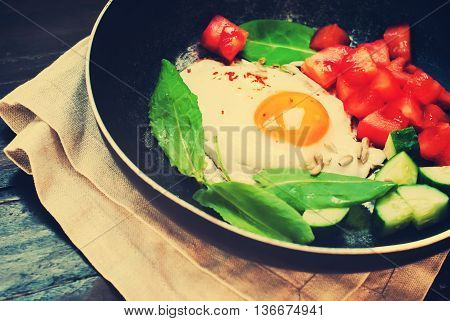 Fried Eggs Frying Pan Vegetable Table Napkin Toned