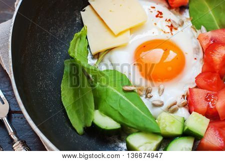 Fried Eggs Pan Tomatoes Cheese Cucumber Greens