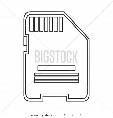 simple line design sd card icon vector illustration
