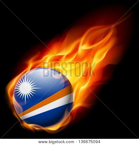 Flag of Marshall Islands as round glossy icon burning in flame