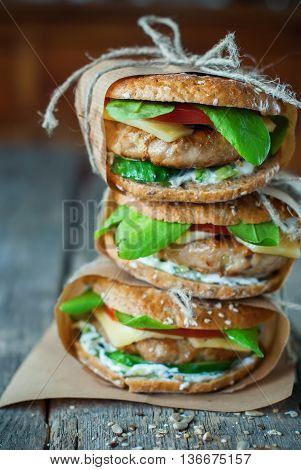 Sandwich Tower Cereal Bread Pork Cheese Vegetables