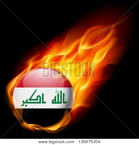 Flag of Iraq as round glossy icon burning in flame