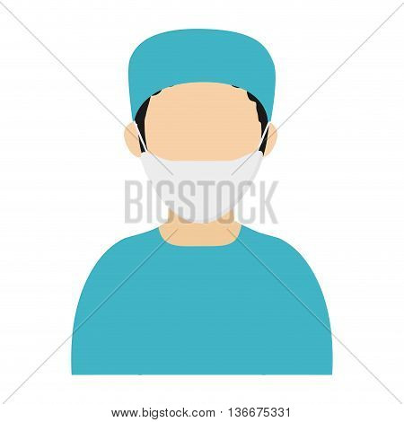 simple flat design medic or doctor with surgery outfit icon vector illustration