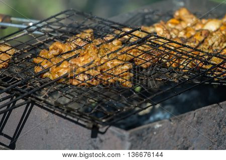 Shashlik Chicken Cooking On The Grill