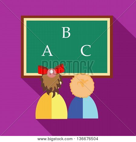 Preschool girl and boy learning to write letters and read icon in flat style on a fuchsia background