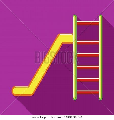 Playground colorful slide icon in flat style on a fuchsia background