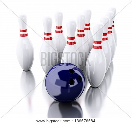 3d renderer image. Bowling pins and blue ball. Isolated white background. Sports concept