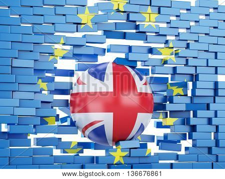 3d renderer illustration. Broken brick European Union Wall with Great Britain ball. Brexit concept.