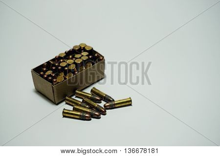 Bullets .22 mm isolated on white background