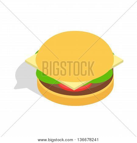 Hamburger icon in isometric 3d style isolated on white background. Food symbol