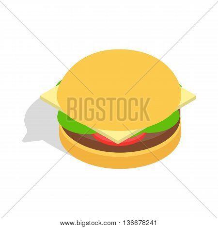 Hamburger icon in isometric 3d style isolated on white background. Food symbol