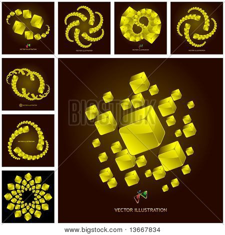 Abstract background with golden boxes. Great collection.