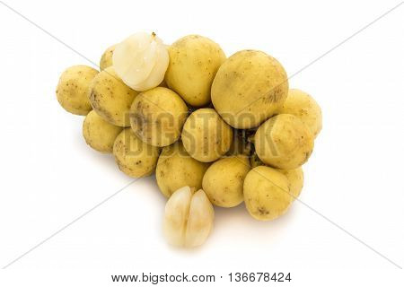 Wollongong delicious fruit or Longkong fruit or Lansium parasiticum is tropical fruit in south east Asia on white background
