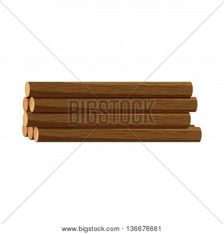 Logs of trees icon in cartoon style isolated on white background. Felling symbol