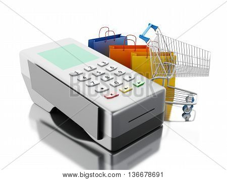 3d renderer image. Credit card and card reader with shopping cart and bags. Shopping concept. Isolated white background.
