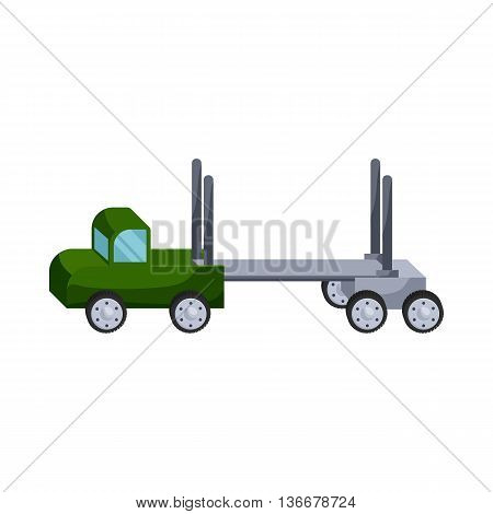Logging truck icon in cartoon style isolated on white background. Machinery symbol