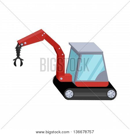 Hydraulic crane icon in cartoon style isolated on white background. Machinery symbol