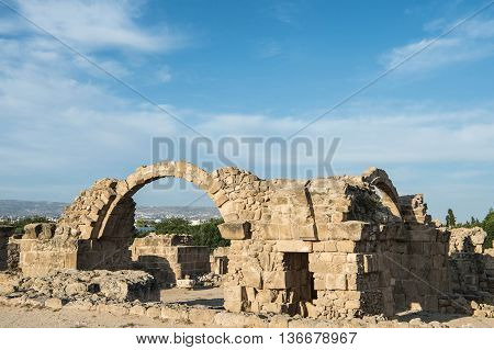 Ruins Of Saranta Colones Castle In Paphos, Cyprus