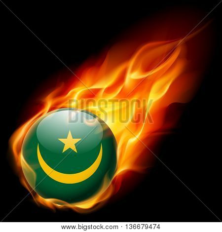 Flag of Mauritania as round glossy icon burning in flame