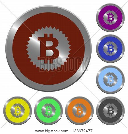 Set of color glossy coin-like bitcoin sticker buttons.