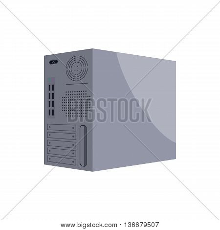 Back panel of central processing unit icon in cartoon style on a white background