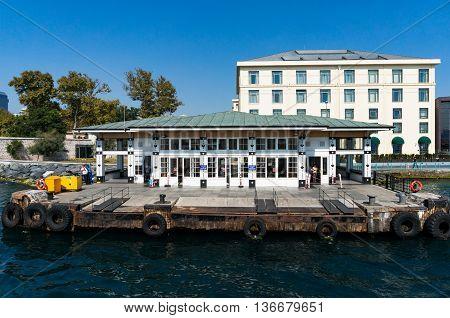 Istanbul Turkey - Aug 28 2013: Hayreddin Barbarossa Pier or Barbaros Hayrettin Pasa pier