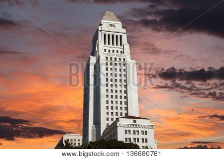 Los Angeles city hall building with sunrise sky.